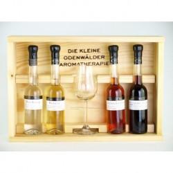 Holzkiste für Aromatherapie 4x 0,1Liter und 1 Glas